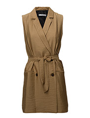 Lapels textured dress - BROWN