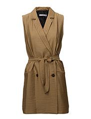Lapels textured dress - BROWN