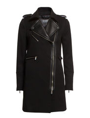 Leather lapel biker coat - Black