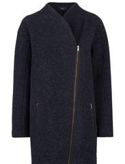 Cocoon wool-blend coat - Navy