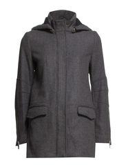 Wool-blend hooded coat - Navy