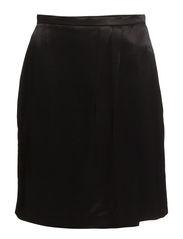 Satin wrap skirt - Black