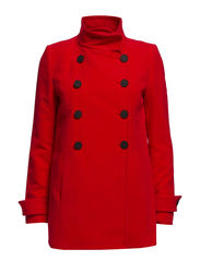 Double-breasted cotton coat - Bright red