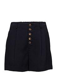 Buttoned high-waist shorts - NAVY