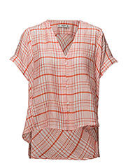 Checkered oversize blouse - ORANGE