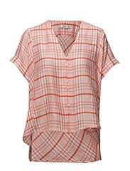 Checkered oversize blouse - ORANGE
