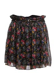 Floral chiffon skirt - Black