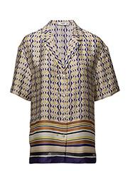 Scarf print blouse - LT-PASTEL PURPLE