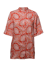 Paisley print blouse - ORANGE