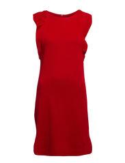 Ruffle wool-blend dress - Bright orange