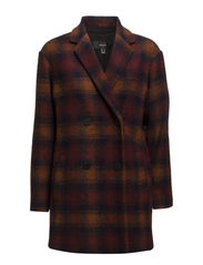 Check wool-blend coat - Dark red