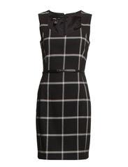 Check belt dress - Black