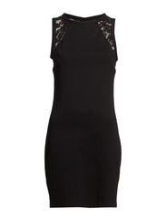Lace panel dress - Black