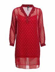 Printed chiffon dress - Bright red