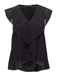 Ruffled texture top - BLACK