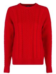 Cable-knit cotton sweater - Bright red