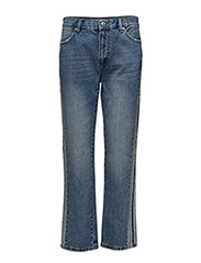 Contrasting trims straight jeans - OPEN BLUE