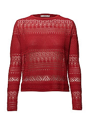 Openwork knit sweater - RED