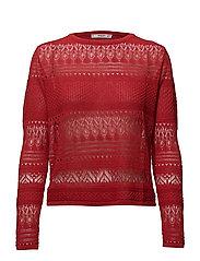 Openwork knit sweater - RED