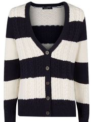 Striped cable-knit cardigan - Navy