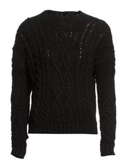 Cable-knit wool-blend sweater - Black