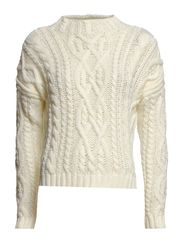 Cable-knit wool-blend sweater - Natural white