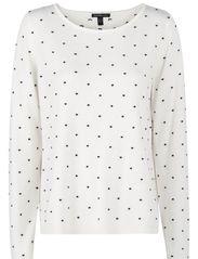 Embossed polka-dot sweater - Natural white