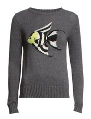 Jacquard wool-blend sweater - Medium grey