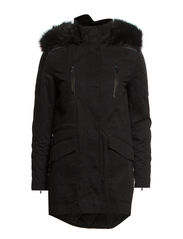 Shoulder-panel hooded parka - Black