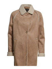 Faux shearling-lined coat - Dark brown