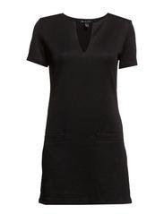Rhombus textured dress - Black