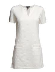Rhombus textured dress - Natural white