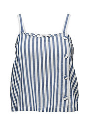 Buttons striped top - MEDIUM BLUE