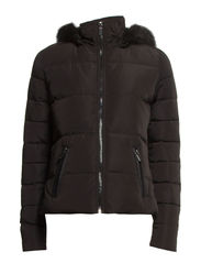 Feather down hooded coat - Black