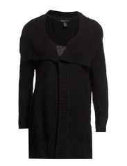 Long wool-blend cardigan - Black
