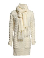 Incorporated scarf cardigan - Natural white