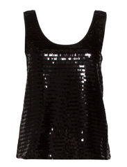 Sequined strap top - Black