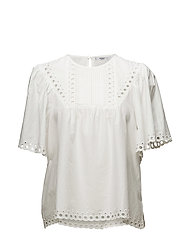 Openwork cotton blouse - NATURAL WHITE