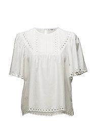Openwork cotton blouse - NATURAL WHITE
