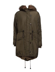 Faux shearling-lined parka - Medium beige