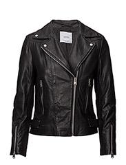 Zipper leather biker jacket - BLACK