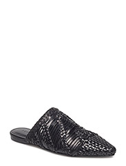 Braided leather babouches - BLACK