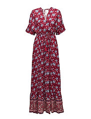 Floral print long dress - RED