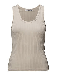 Ribbed strap top - NATURAL WHITE