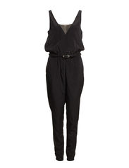 Belt long jumpsuit - Black