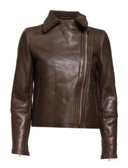 Shearling-lined leather jacket - Dark brown