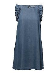 Ruffled soft dress - OPEN BLUE