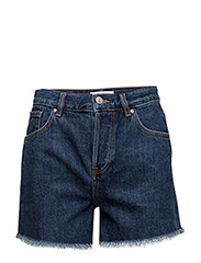 Frayed hem denim shorts - OPEN BLUE