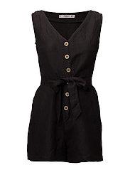 Bow linen jumpsuit - BLACK