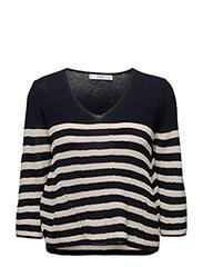 Knit striped sweater - NAVY